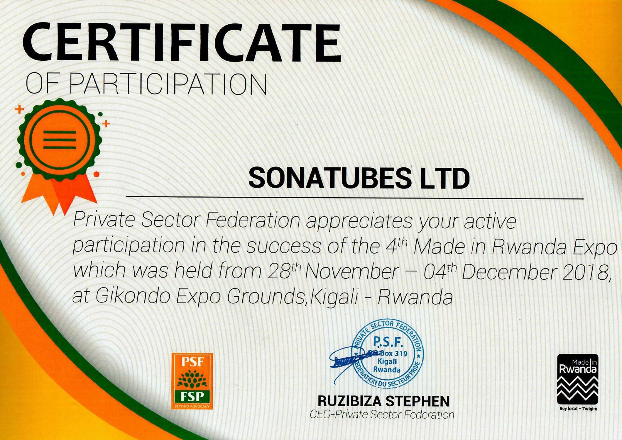 Certif SNT Made in Rwanda